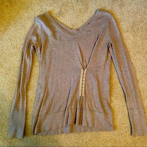 Brown V Neck long sleeve top with Corset detail